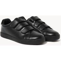 M&S Unisex Boys Girls Kids' Leather Riptape School Shoes (13 Small- 9 Large) - 2 L - Black, Black