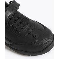 M&S Boys Kids' Leather Riptape School Shoes (8 Small - 1.5 Large) - 8 SSTD - Black, Black