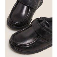 M&S Boys Kids' Leather Riptape School Shoes (8 Small - 1 Large) - 1 LSTD - Black, Black