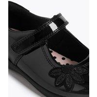 M&S Girls Kids Patent Leather T-Bar School Shoes (8 Small - 1 Large) - 10 SSTD - Black, Black