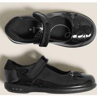M&S Girls Kids' Leather Flashing Light School Shoes (8 Small - 1 Large) - 10 SSTD - Black, Black