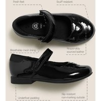 MandS Girls Kids Leather Riptape School Shoes (8 Small - 1 Large) - 10 SSTD - Black, Black