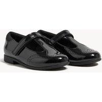 MandS Girls Kids Leather Freshfeet™ T Bar School Shoes (8 Small - 1 Large) - 10 SSTD - Black, Black