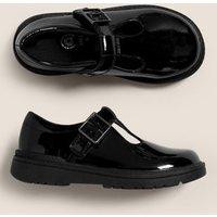 M&S Girls Kids' Leather Riptape T Bar School Shoes (8 Small - 1 Large) - 10 SSTD - Black, Black