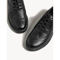 M&S Girls Kids' Leather Freshfeettm School Shoes (13 Small -7 Large) - 6.5 LSTD - Black, Black