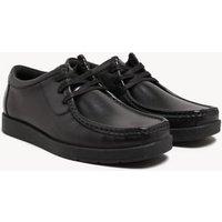 M&S Unisex Boys Girls Kids' Leather Lace School Shoes (13 Small - 9 Large) - 5 LSTD - Black, Black