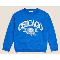 M&S Girls Cotton Chicago Slogan Sequin Sweatshirt (6-16 Yrs) - 7-8 Y - Blue, Blue