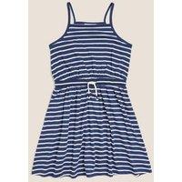 M&S Girls Cotton Jersey Striped Dress (6-16 Yrs) - 7-8 Y - Navy Mix, Navy Mix