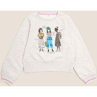 M&S Girls Cotton Girls Sequin Sweatshirt (6-16 Yrs) - 6-7 Y - Grey Marl, Grey Marl