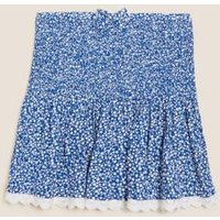 M&S Girls Floral Shirred Skirt (6-16 Yrs) - 6-7 Y - Blue Mix, Blue Mix