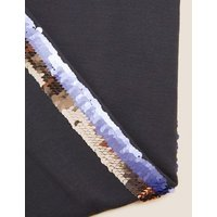 M&S Girls Sequin Side Stripe Slogan Leggings (6-16 Yrs) - 6-7 Y - Charcoal, Charcoal