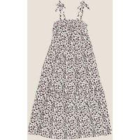 MandS Girls Animal Print Maxi Dress (6-16 Yrs) - 6-7 Y - White Mix, White Mix