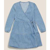 M&S Girls Denim Tiered Wrap Dress (6-14 Yrs) - 7-8 Y, Denim