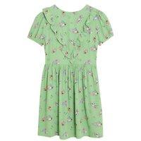 M&S X Ghost Girls Floral Print Frill Dress (2-16 Yrs) - 7-8 Y - Green Mix, Green Mix