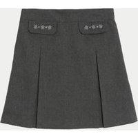 MandS Girls Girls Embroided School Skirt - 14-15 - Grey, Grey
