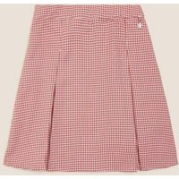 MandS Girls Girls Easy to Iron Gingham School Skirt - 2-3 Y - Red, Red,Mid Blue