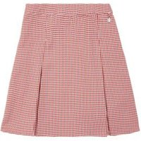 M&S Girls Girls' Easy to Iron Gingham School Skirt (2-14 Yrs) - 7-8 Y - Red, Red,Mid Blue