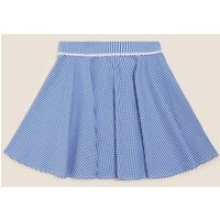 MandS Girls Girls Pure Cotton Gingham Skater School Skirt - 5-6 Y - Mid Blue, Mid Blue,Red