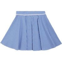 MandS Girls Girls Pure Cotton Gingham Skater School Skirt - 6-7 Y - Mid Blue, Mid Blue,Red