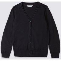 MandS Girls Girls Pure Cotton School Cardigan (3-16 Yrs) - 4-5 Y - Dark Navy, Dark Navy,Red