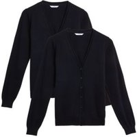 MandS Girls 2pk Girls Pure Cotton School Cardigan (3-18 Yrs) - 4-5 Y - Black, Black,Red,Navy,Grey,Brown,Green,Blue,Burgundy