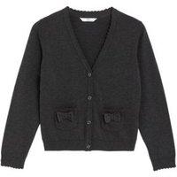 MandS Girls Girls Pure Cotton Bow Pocket School Cardigan (3-18 Yrs) - 4-5 Y - Grey, Grey,Navy,Red,Green,Blue