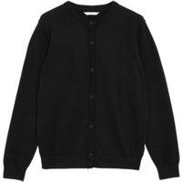 M&S Girls Girls' Pure Cotton School Cardigan (9-18 Yrs) - 10-11 - Black, Black