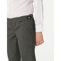 M&S Girls 2pk Girls' Slim Leg Adaptive School Trousers (3-18 Yrs) - 3-4 Y - Grey, Grey,Black