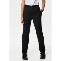 M&S Girls Girls' Skinny Leg Belted School Trousers (2-18 Yrs) - 10-11 - Black, Black,Grey
