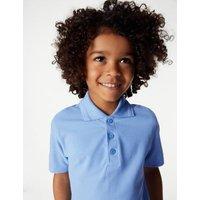 MandS Boys 2pk Boys Stain Resist School Polo Shirts (2-16 Yrs) - 3-4 Y - Blue, Blue,White