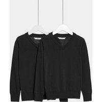 M&S Unisex Boys Girls 2pk Unisex Pure Cotton School Jumper (3-18 Yrs) - 14-15 - Black, Black,Red,Nav