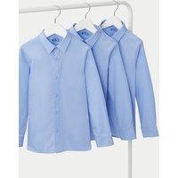 MandS Boys 3pk Boys Slim Fit Easy Iron School Shirts (2-16 Yrs) - 6-7 Y - Blue, Blue,White