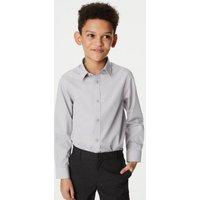 MandS Boys 3pk Boys Easy Iron School Shirts (2-16 Yrs) - 2-3 Y - Grey, Grey,White,Blue