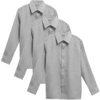 M&S Boys 3pk Boys' Easy Iron School Shirts (2-16 Yrs) - 14-15 - Grey, Grey,White,Blue