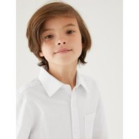MandS Boys 2pk Boys Cotton Regular Fit School Shirts (2-18 Yrs) - 10-11 - White, White