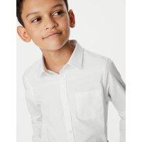 MandS Boys 2pk Boys Cotton Slim Fit School Shirts - 2-3 Y - White, White