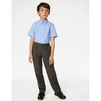 MandS Boys 3pk Boys Slim Easy Iron School Shirts (2-16 Yrs) - 16.5 - Blue, Blue,White