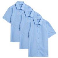 MandS Boys 3pk Boys Slim Easy Iron School Shirts (2-16 Yrs) - 11-12 - Blue, Blue,White
