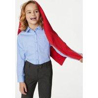 M&S Girls 2pk Girls' Non-Iron School Shirts (2-18 Yrs) - 6-7 Y - Blue, Blue,White