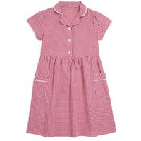 MandS Girls Girls Skin Kind™ Gingham School Dress (2-14 Yrs) - 7-8 Y - Red, Red,Mid Blue,Green,Yellow