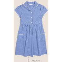 M&S Girls Girls' Pure Cotton Gingham School Dress (2-14 Yrs) - 11-12 - Mid Blue, Mid Blue,Yellow,Gre