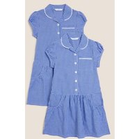 MandS Girls 2pk Girls Cotton Plus Fit School Dresses - 4-5 Y - Mid Blue, Mid Blue,Red