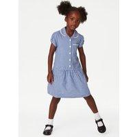 MandS Girls 2pk Girls Cotton Gingham School Dresses - 10-11 - Mid Blue, Mid Blue,Pink,Yellow,Green,Red,Light Blue,Lilac