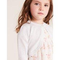 M&S Girls Cotton Glitter Cardigan (2-7 Yrs) - 2-3 Y - Pink, Pink