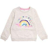 M&S Girls Cotton Dinosaur Sweatshirt (2-7 Yrs) - 3-4 Y - Grey, Grey