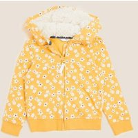 M&S Girls Cotton Floral Print Hoodie (2-7 Yrs) - 2-3 Y - Yellow, Yellow