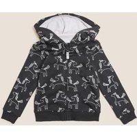 M&S Girls Cotton Unicorn Hoodie (2-7 Yrs) - 3-4 Y - Charcoal, Charcoal