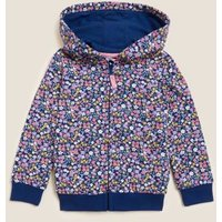 M&S Girls Pure Cotton Floral Print Hoodie (2-7 Yrs) - 3-4 Y - Navy, Navy