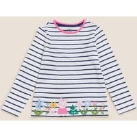 M&S Girls Pure Cotton Peppa Pigtm Top (2-7 Yrs) - 2-3 Y - White Mix, White Mix