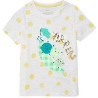 M&S Girls Pure Cotton Slogan T-Shirt (2-7 Yrs) - 3-4 Y - White Mix, White Mix